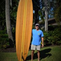 Ken Marvel with handmade paddleboard