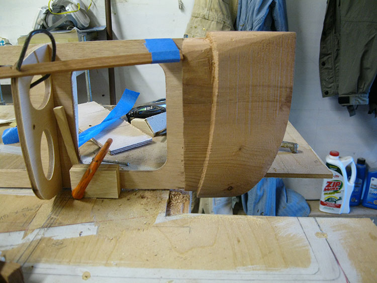 Sculpting a noseblock with a rabbet is more challenging than mitering the nose.