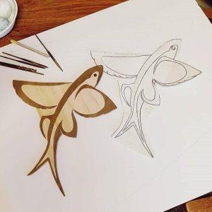 Rory Sheldon flying fish Paulownia and Walnut wood inlay