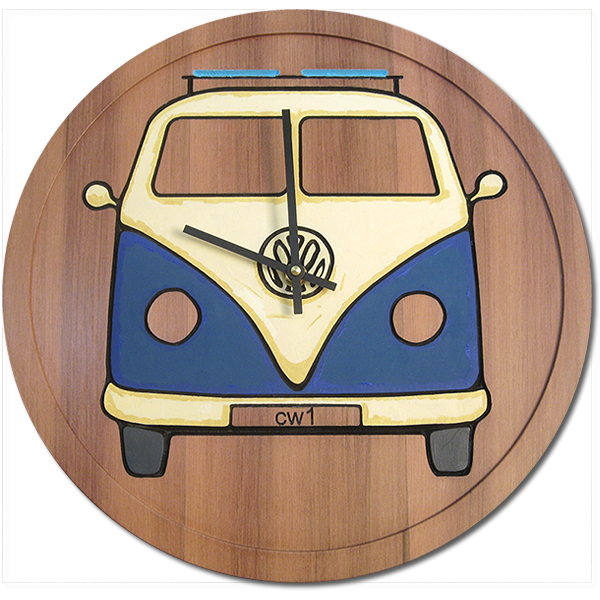 VW Bus reclaimed redwood clock