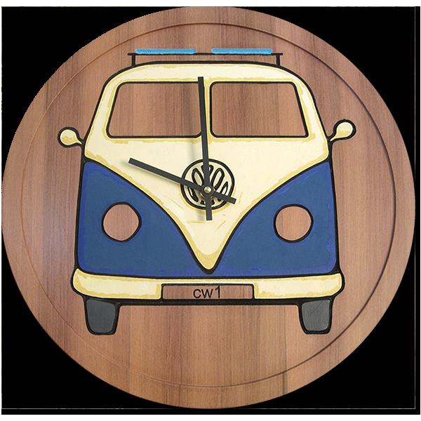 VW Bus reclaimed redwood clock