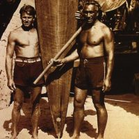 Tom Blake and Duke Kahanamoku vintage photo with paddleboard