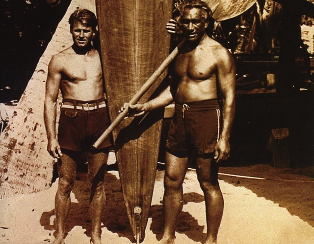 Tom Blake and Duke Kahanamoku vintage photo with paddleboard